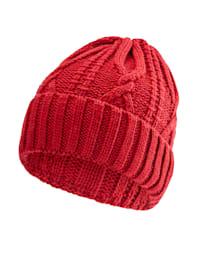 Bonnet en laine - avec maille torsadée
