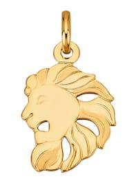 """Pendentif avec signe du zodiaque """"Lion"""" en or jaune 750"""