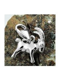 Anhänger 13x12mm Charm Steinbock glänzend rhodiniert Silber 925