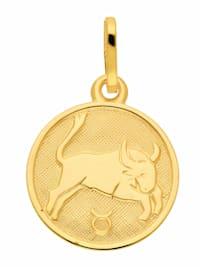 Damen & Herren Goldschmuck 333 Gold Sternzeichen Anhänger Stier Ø 11,8 mm