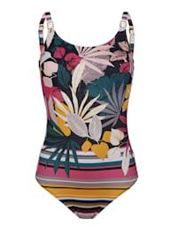 Badeanzug in gedeckten Sommerfarben