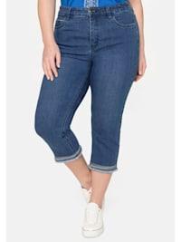 Jeans «Die Schmale», in 3/4-Länge mit Stickerei am Saum.