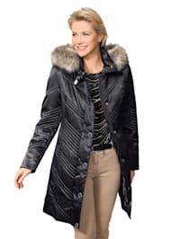 Quilted coat with a detachable hood