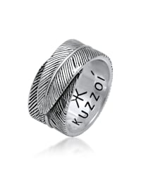 Ring Herren Feder Vintage Trend Massiv 925 Silber