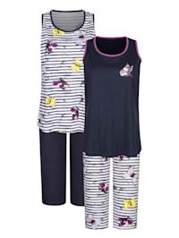 Schlafanzüge im 2er-Pack mit garngefärbtem Ringeldessin und hübschem Druckmotiv