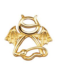 Teufel-Engel-Anhänger in Massiv Gelbgold 375