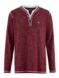 Henleyshirt in zweifarbiger Flammgarn-Optik