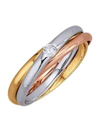 Ring i 18 k guld (gult guld, vitguld och roséguld)