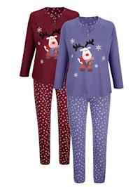 Pyjamas i 2-pack med sött vintermotiv
