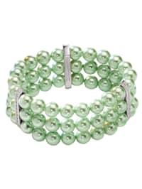 Armband 925/- Sterling Silber Muschelkernperle grün 19cm Glänzend