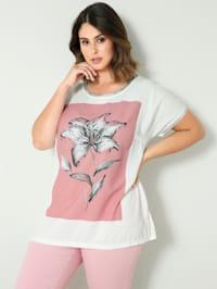 Shirt mit silberfarbenem Ärmelsaum und Ausschnitt