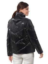 Gewatteerde jas met brede strepen van pailletten