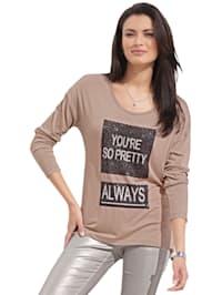 Shirt mit Schriftzug aus Pailletten