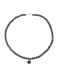 Collier d'agates arc-en-ciel avec perle de cristal de coloris lilas