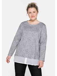 Sweatshirt mit Blusenbesatz am Saum