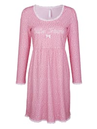 Nightdress with a spot print and lace detail