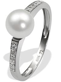 Damenring 585/- Weißgold 1 Perle 10 Dia. 0,09 ct.