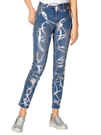 Jeans med glansigt folietryck