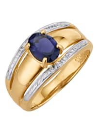 Damenring mit Iolith und Diamant
