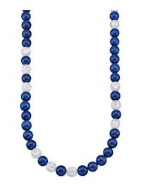 Halskette mit Lapis und weißem Kristall