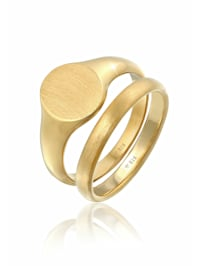 Ring Herren Siegelring Basic Bandring 2Er Set 925 Silber