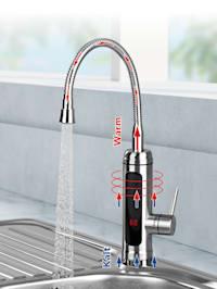 Elektrische Edelstahl-Wasserarmatur, 2 wechsel- & 360° schwenkbare Wasserhahn-Aufsätze, Durchlauferhitzer