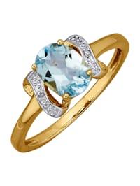 Bague avec topaze bleue et diamants