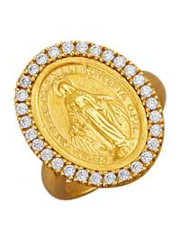 Bague Madonne en argent 925, doré