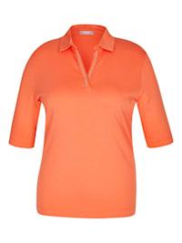 Shirt mit unifarbenem Stoff und halblangen Ärmeln