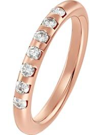 CHRIST Damen-Damenring 585er Roségold 7 Diamant