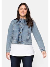 Jeansjacke ohne Kragen, im Moonwashed-Look