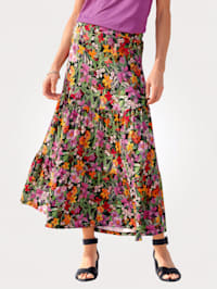 Jersey skirt with a floral print