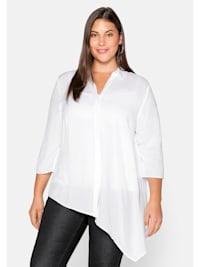 Bluse mit asymmetrischem Saum in Zipfelform