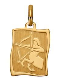 """Pendentif avec pierre de naissance """"Sagittaire"""" en or jaune 585"""