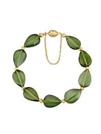 Armband med grön bärnsten och pyrit