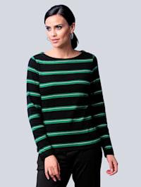 Shirt mit exklusivem Streifen-Dessin von Alba Moda