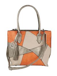 Handbag in a patchwork pattern 3-piece