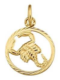 Sternzeichen-Anhänger Skorpion in Gelbgold 585