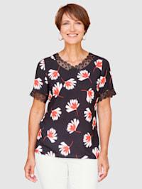 Blúzkové tričko s kvetinovou potlačou