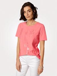 Tričko s výšivkou v proužkovém vzhledu