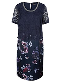 Šaty 2v1 s krajkovým vrchním dílem a sukní s květinovým potiskem