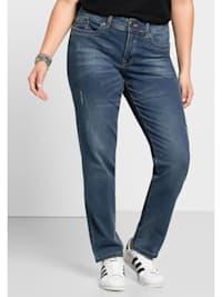 Jeans Mit Used- und Destroyed-Effekten