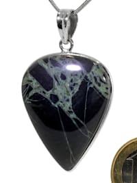 Damen Schmuck Edelstein Spiderweb Obsidian Anhänger 925 Silber bunt