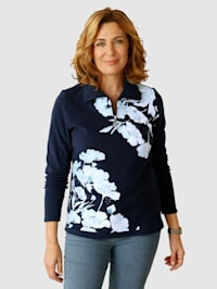 Fleece trui met bloemenprint en klinknageltjes