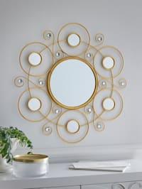 Miroir mural coloris or