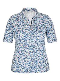 Shirt mit gepunktetem Allover-Muster und Glitzersteinen