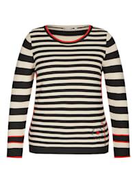 Pullover mit gestreiftem Muster und Stickerei