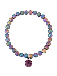 Regenbogenachat-Armband mit lilafarbener Kristall-Kugel
