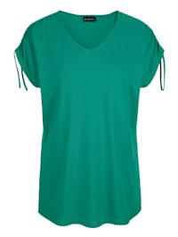 Shirt met plooitjes aan de aangeknipte mouwen