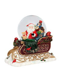 Schneekugel XXL Schlitten mit Santa
